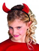 Cornes rouges à paillettes enfant Halloween