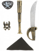 Kit de pirate en plastique - Sabre telescope bandana insigne et cache oeil Enfant