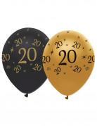 Vous aimerez aussi : 6 Ballons latex Noir et or 20 ans