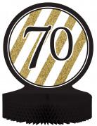 Centre de table en papier alvéolé 70 ans noir et doré 23 x 30 cm