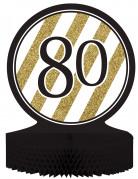 Centre de table en papier alvéolé 80 ans noir et doré 23 x 30 cm