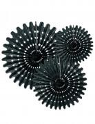 3 Rosaces éventails en papier noir 20 30 et 40 cm