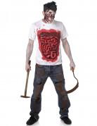 Déguisement zombie avec boyaux en latex homme