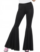 Pantalon disco noir pattes d'élephant femme