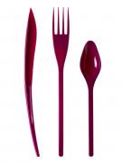 30 Couverts en plastique aubergine - Premium