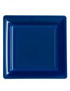 12 Assiettes carrées bleu marine 23.5 cm