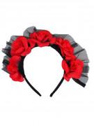 Couronne roses rouges adulte Dia de los muertos