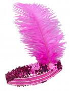 Bandeau Charleston à sequins et plume rose fuschia femme