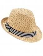 Chapeau borsalino ajouré avec bande bicolore adulte