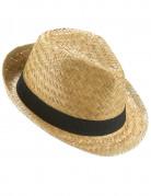 Chapeau borsalino en paille et bande noire adulte