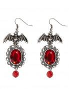 Boucles d'oreilles chauve souris gothique rouge femme Halloween