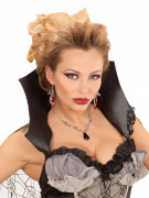 Collier chauve souris noir et pierre femme Halloween