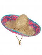 Sombrero Mexicain bordure rose et bleu adulte