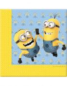 20 Serviettes en papier lovely Minions™ 33 x 33 cm