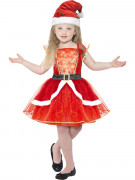 Déguisement robe rouge lumineuse avec chapeau fille Noël