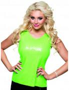 Top à sequins vert fluo femme
