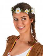Couronne de fleurs pâquerettes blanches adulte
