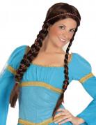 Perruque brune à tresses et rubans femme