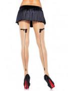 Collants couture avec pistolet noir femme