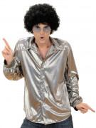 Chemise disco holographique argent homme