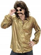 Chemise disco holographique dorée homme