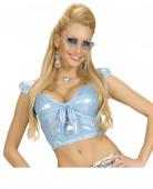 Top holographique bleu avec noeud sexy femme