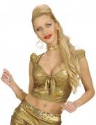 Top holographique doré avec noeud sexy femme