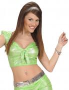 Top holographique vert avec noeud sexy femme
