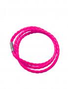 Bracelet tressé rose fluo adulte