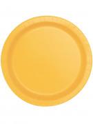 8 Petites assiettes jaune tournesol en carton 17 cm