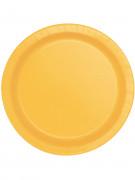 20 Petites assiettes jaune tournesol en carton 17 cm