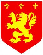 Cutout médiéval lion rouge diam. 30cm