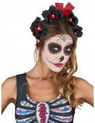 Serre tête fleurs noir et rouge Dia De Los Muertos adulte
