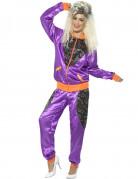 Déguisement jogging rétro violet femme