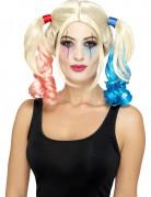 Perruque arlequin fou blonde à couettes femme