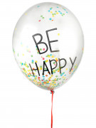 3 Ballons latex confettis multicolores Be Happy 45 cm