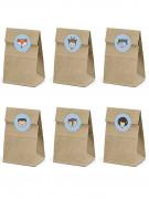 6 Sacs en papier Kraft + stickers forêt 7,5 x 18,5 cm