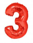 Ballon aluminium géant chiffre 3 rouge 102 cm