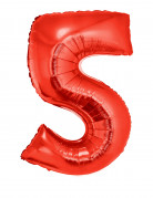 Ballon aluminium géant chiffre 5 rouge 102 cm