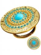 Bague dorée avec pierres bleues femme