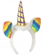 Serre-tête licorne avec oreilles multicolores adulte
