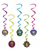 5 Suspensions spirales Dia de los muertos 102 cm