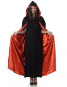 Cape à capuche rouge et noire Halloween adulte