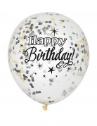 Vous aimerez aussi : 6 Ballons latex confettis Happy Birthday argent et or