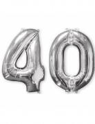 Lot de 2 ballons aluminium chiffre 40 argent 66 cm