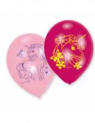 6 Ballons latex Licorne rose