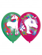 6 Ballons latex Licorne arc-en-ciel