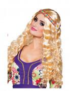 Perruque ondulée blonde avec bandeau hippie femme