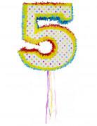 Pinata du chiffre 5 multicolore