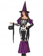 Déguisement sorcière violette squelette femme Halloween